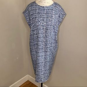 Dalia Blue Printed Cap Sleeve Shift Dress Size 8